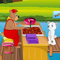 Free online flash games - Bear Live Fish Fry Shop game - Games2Rule