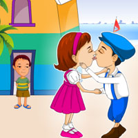 Free online flash games - Beach House Kiss game - WowEscape
