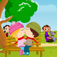 Free online flash games - Winter Park Kissing game - WowEscape