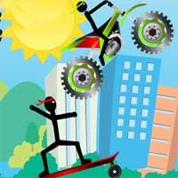Free online flash games - Stickman Skateboard-Bike Challenge game - WowEscape