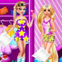 Free online flash games - Rapunzel and Elsa pj Party game - WowEscape