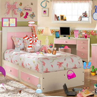 Free online flash games - Girl Bedroom Objects HOG game - WowEscape