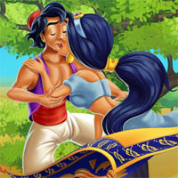 Free online flash games - Jasmine and Aladdin Kissing game - WowEscape