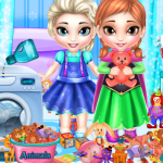 Free online flash games - Frozen Sisters Washing Toys game - WowEscape