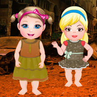 Free online flash games - Twin Girls War Place Rescue game - WowEscape