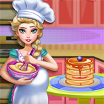 Free online flash games - Pregnant Elsa Baking Pancakes game - WowEscape