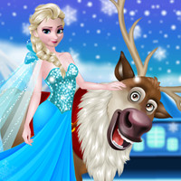 Free online flash games - Rudolph and Elsa in the Frozen Forest game - WowEscape