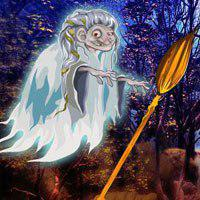 Free online flash games - Witch Broom Stick Forest Escape